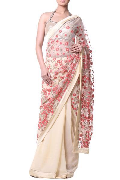 Sarees, Sarees, Clothing, Carma, Beige floral embroidered sequin embellished saree ,  ,