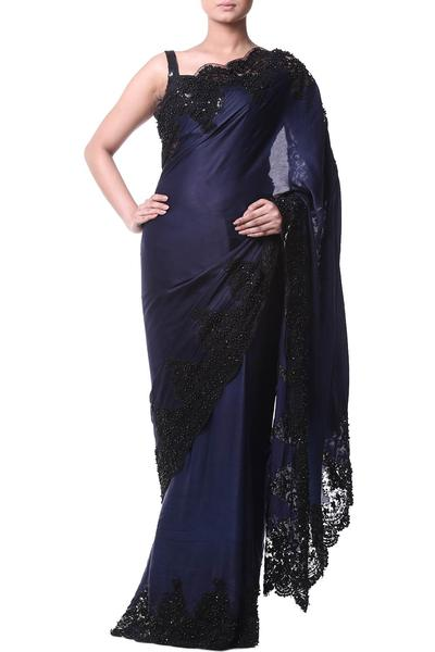 Sarees, Sarees, Clothing, Carma, Navy blue saree with contrast lace border ,  ,