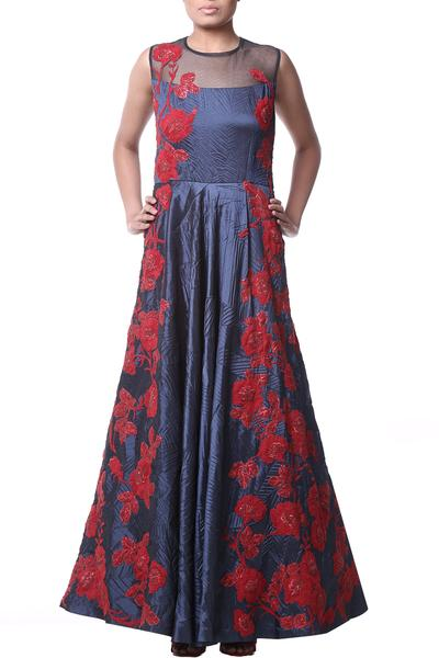 Gowns, Clothing, Carma, Navy floral hand embroidered gown ,  ,