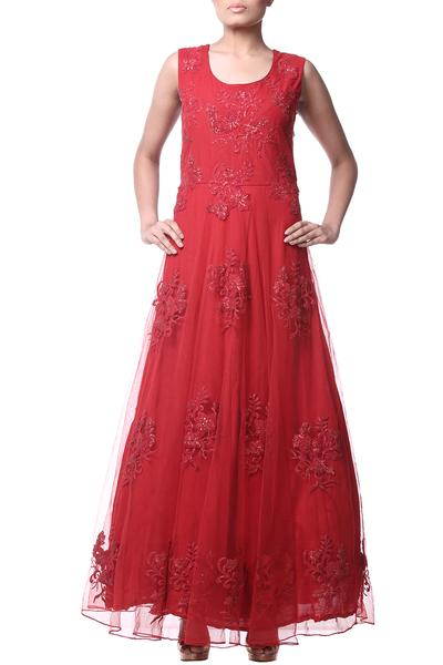 Gowns, Clothing, Carma, Red embroidered and sequin embellished gown ,  ,