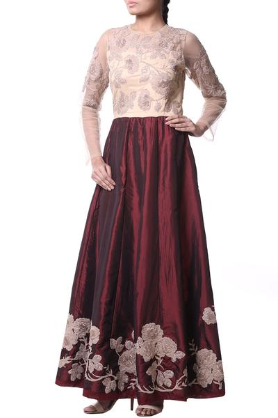 Gowns, Clothing, Carma, Gold beige and wine embroidered gown ,  ,
