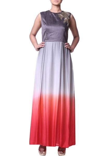Dresses, Clothing, Carma, Coral and grey shaded maxi dress ,  ,
