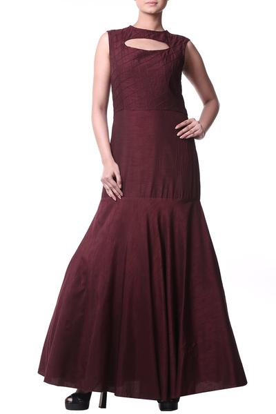 Gowns, Clothing, Carma, Wine cut out neck gown ,  ,