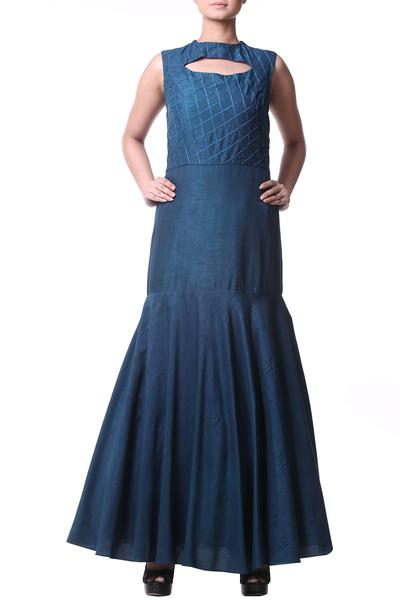Gowns, Clothing, Carma, Teal blue cut out neck gown ,  ,