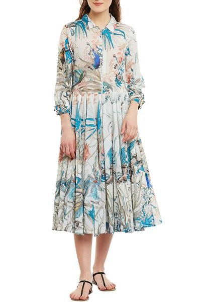 Dresses, Clothing, Carma, Ivory And Turquoise Printed Dress ,  ,  ,