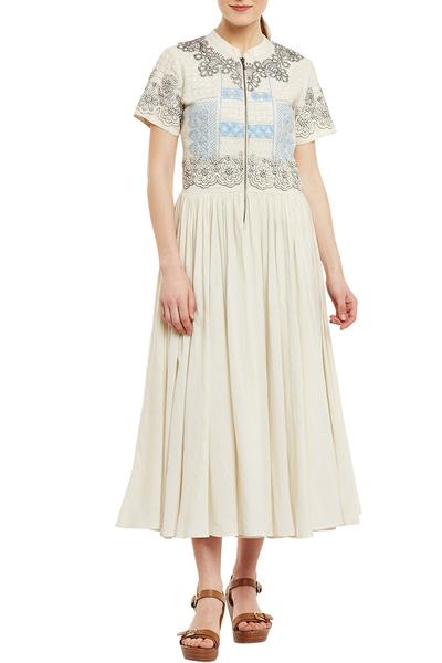 Dresses, Clothing, Carma, Ivory Thread Work Fit And Flare Dress ,  ,  ,