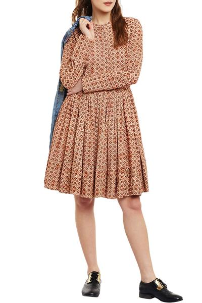 Dresses, Clothing, Carma, Beige Printed Fit And Flare Dress ,  ,  ,