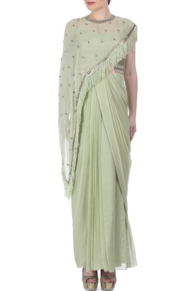 Sarees, Sarees, Clothing, Carma, Pista Green Draped Saree With Cape ,  ,  ,