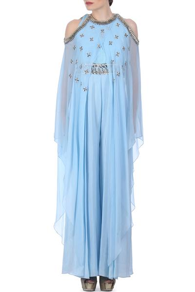 Jumpsuits, Clothing, Carma, Blue Embellished Cape Style Jumpsuit ,  ,  ,