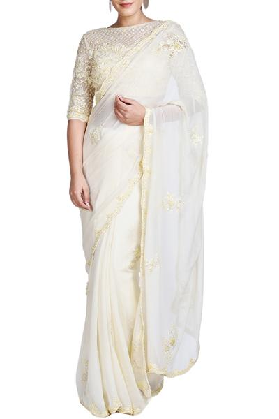 Sarees, Sarees, Clothing, Carma, Lemon yellow saree with blouse and cape ,  ,