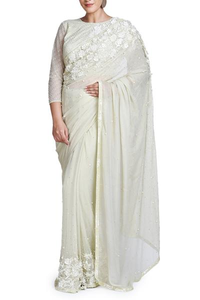 Sarees, Sarees, Clothing, Carma, Ivory floral embroidered saree with blouse ,  ,
