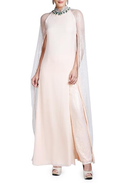 Gowns, Clothing, Carma, Ice peach cape mesh gown ,  ,