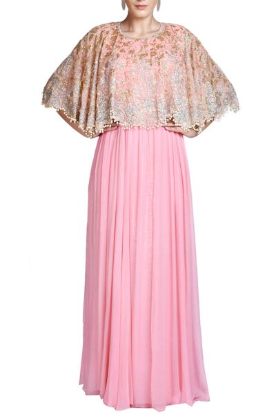 Gowns, Clothing, Carma, Pink gown with embroidered cape ,  ,