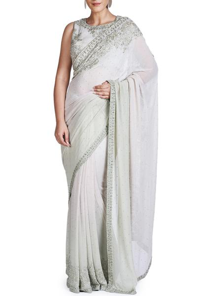 Sarees, Sarees, Clothing, Carma, Aqua embroidered saree with blouse ,  ,