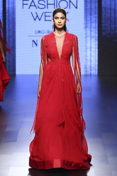 Gowns, Clothing, Carma, Red sheer neck fringe gown ,  ,  ,