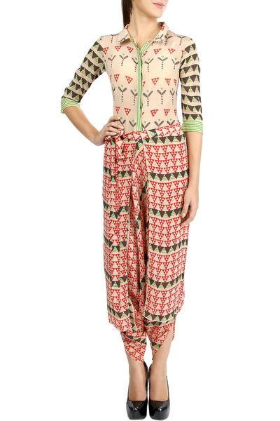 Jumpsuits, Clothing, Carma, Beige And Red Printed Draped Jumpsuit ,  ,  ,