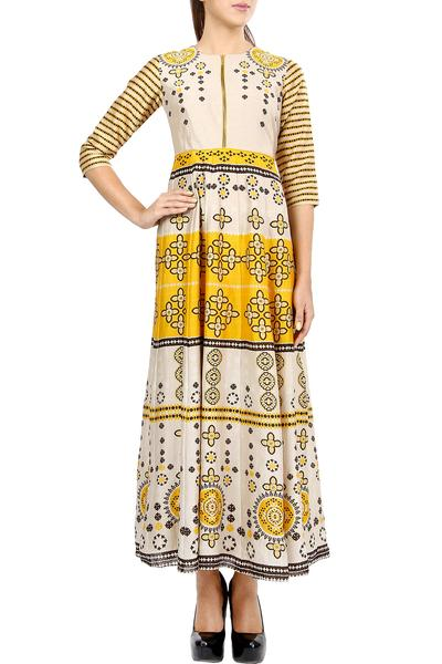 Dresses, Clothing, Carma, Ivory And Yellow Flared Maxi Dress ,  ,