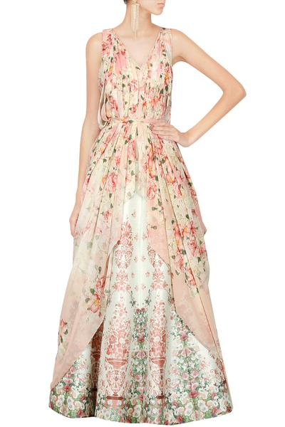 Gowns, Clothing, Carma, Floral printed cowl drape top with printed lehenga ,