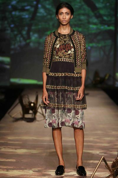 Dresses, Clothing, Carma, Black and green leaf embroidered tiered sheer dress ,