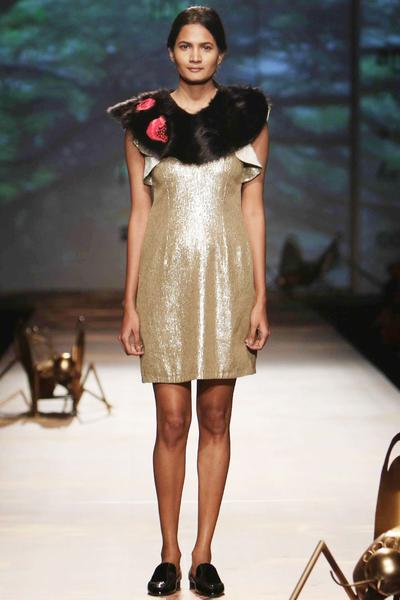 Dresses, Clothing, Carma, Gold fully sequined frill dress ,