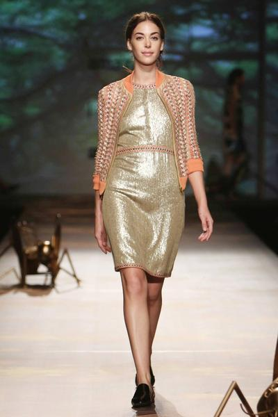 Dresses, Clothing, Carma, Gold sequin dress with chain embroidery ,