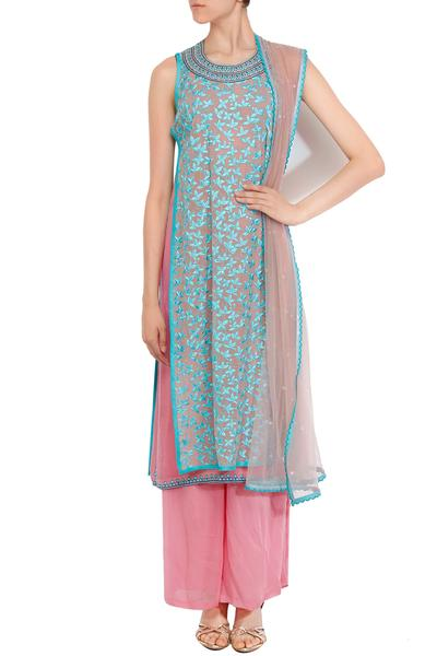 Suits, Clothing, Carma, Pink and firozi thread and sequin work layered kurta set ,