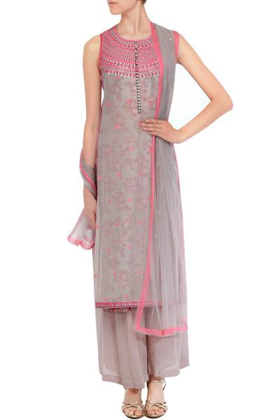 Suits, Clothing, Carma, Lilac and pink thread work double layered kurta set ,