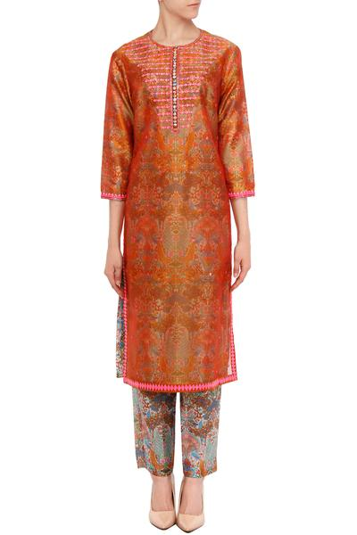 Suits, Clothing, Carma, Burnt orange embroidered kurta set with printed pants ,