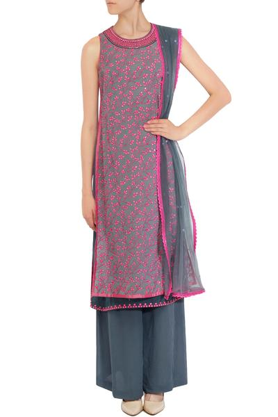 Suits, Clothing, Carma, Grey and pink thread and sequin work layered kurta set ,