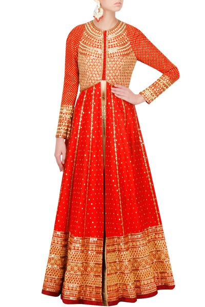 Suits, Clothing, Carma, Crimzon Red Raw Silk Anarkali Jacket ,