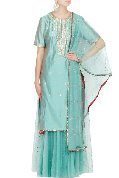 Suits, Clothing, Carma, Sea Green Chanderi Silk Kurta Set ,