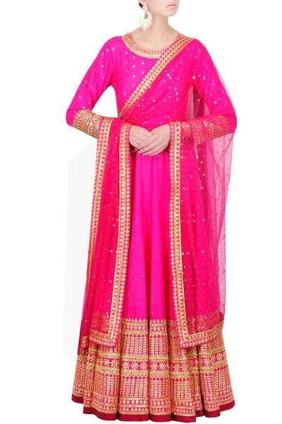 Suits, Clothing, Carma, Hot Pink Floor Length Anarkali ,