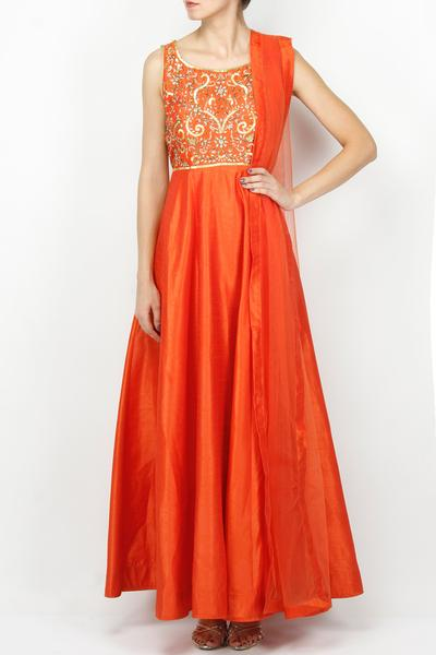 Gowns, Clothing, Carma, Sunset Orange Ethnic Gown ,  ,
