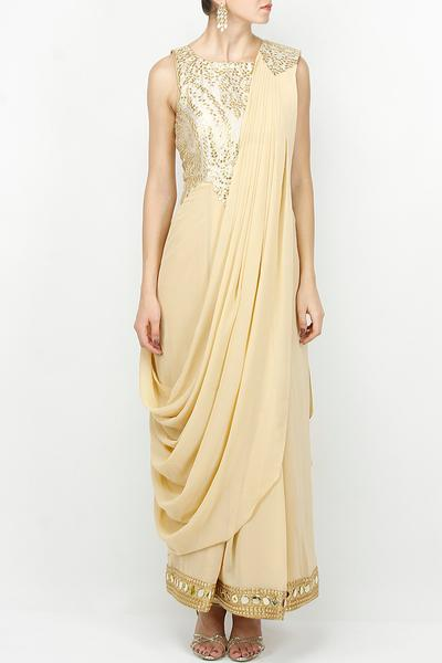 Gowns, Clothing, Carma, Beige Draped Sari Gown ,  ,
