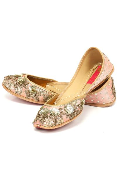 Jutti, Footwear, Accessories, Carma, Blush pink floral embroidered juttis ,  ,  ,