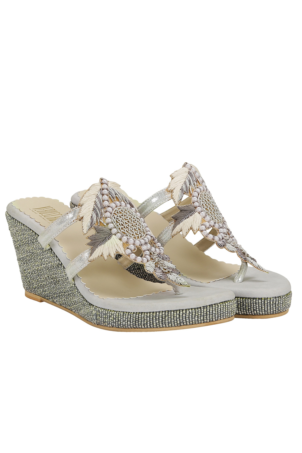 Ivory And Silver Embroidered Wedges