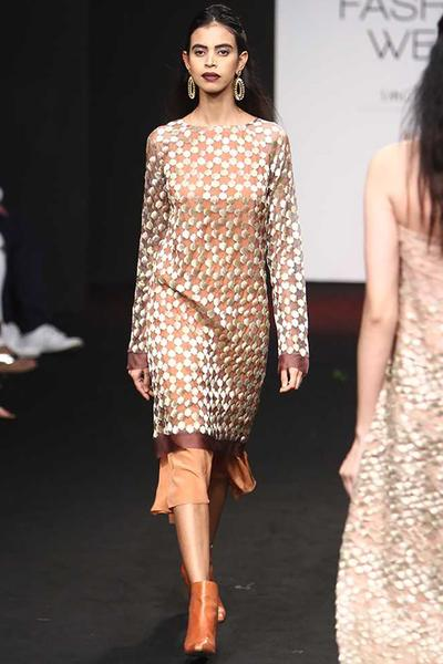 Dresses, Clothing, Carma, Brown zari work hexagons sheer organza dress with skirt ,