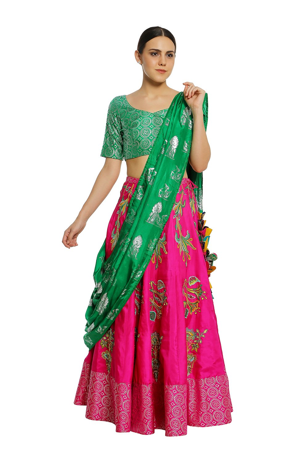 6faafeb88d Indian, Fuchsia & Green Tulip Embroidered Patchwork Lehenga Set