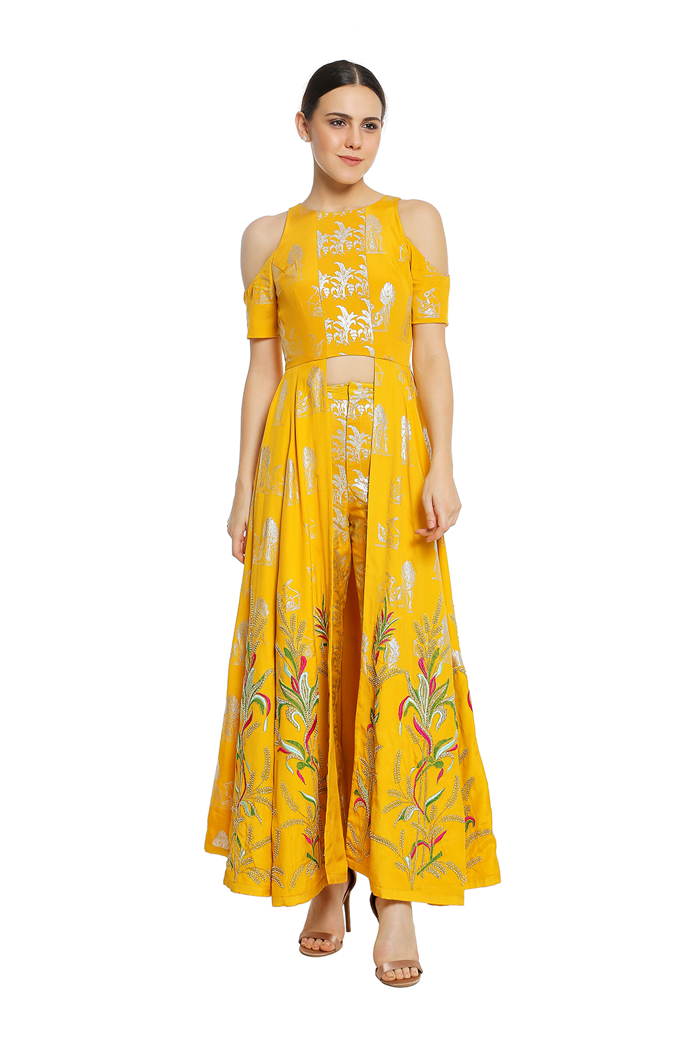 b634bf31f4 Indian, Yellow Tulip Embroidered Tunic With Yellow Tropical Banana ...