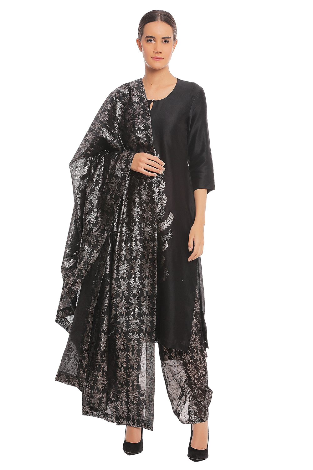 33c04f8c94 Indian, Black Leaf Kurta with Blooming Garden Dupatta & Salwar