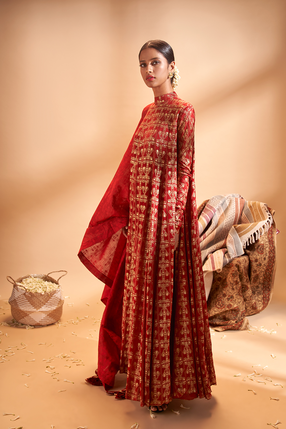 SCARLET CHIFFON GOLD TREE TRUNK ANARKALI SET