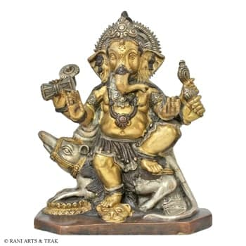 Brass Handicrafts, Metal Handicrafts, Rani Arts & Teak, Rani Arts & Teak, BRASS GANESH ON MOUSE