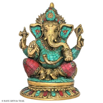 Brass Handicrafts, Metal Handicrafts, Rani Arts & Teak, Rani Arts & Teak, BRASS GANESH STONE WORK