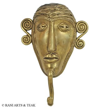Bronze Handicrafts, Metal Handicrafts, Rani Arts & Teak, Rani Arts & Teak, BRONZE TRIBAL FACE HOOK