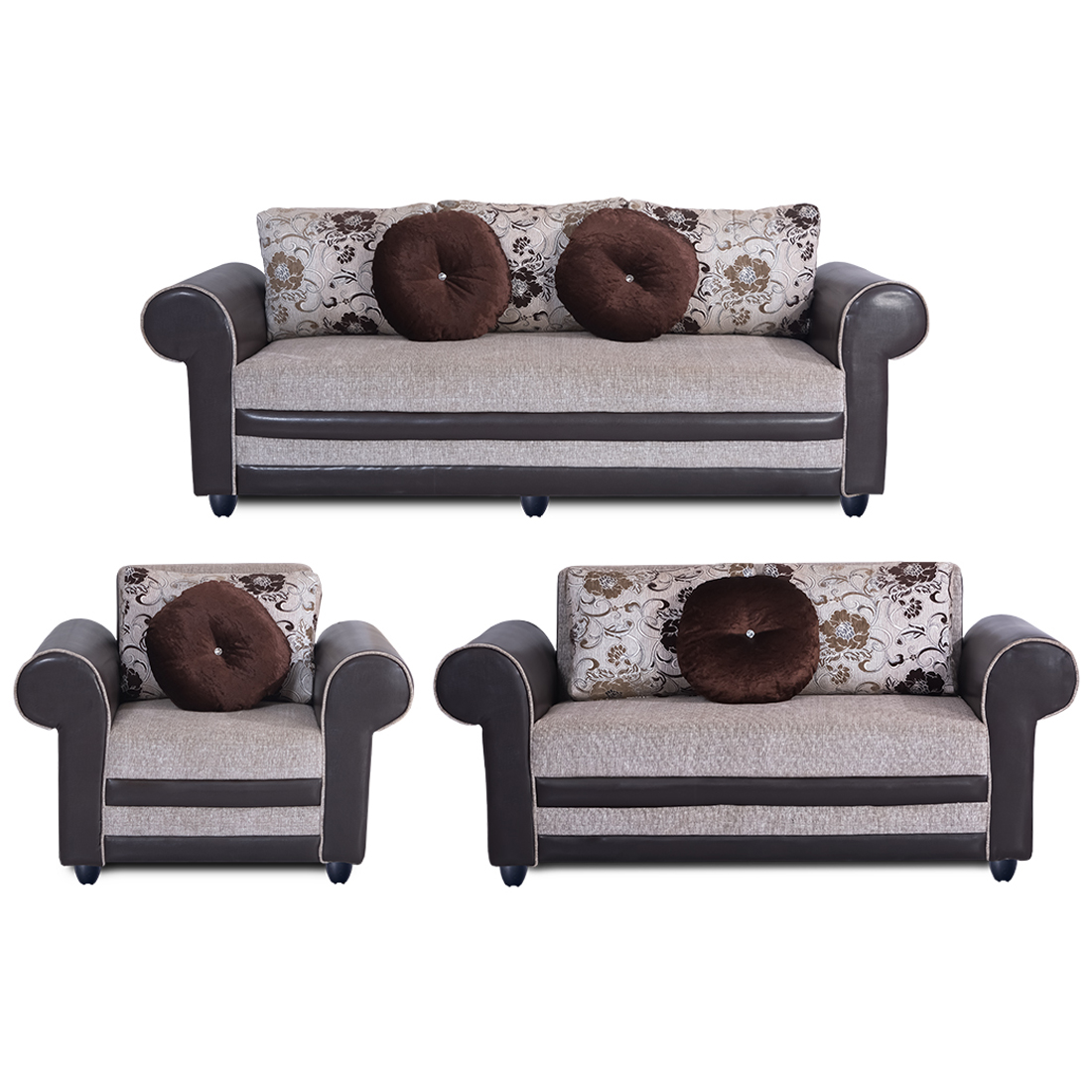 Incredible Bharat Lifestyle Alex Fabric Cream Brown Sofa Set 3 2 1 Cjindustries Chair Design For Home Cjindustriesco