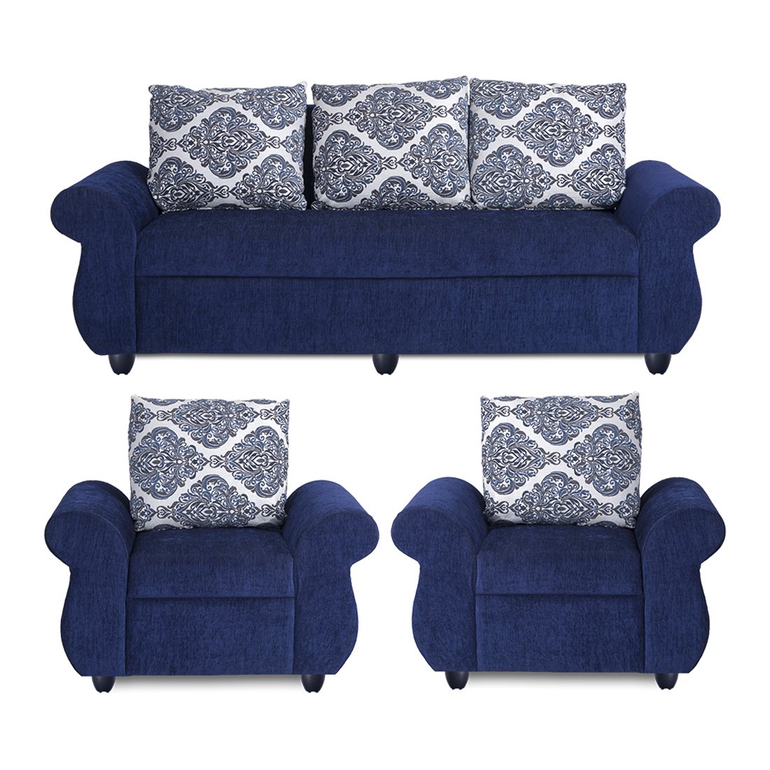 Wondrous Bharat Lifestyle Alisa Fabric 3 1 1 Blue Sofa Set Cjindustries Chair Design For Home Cjindustriesco