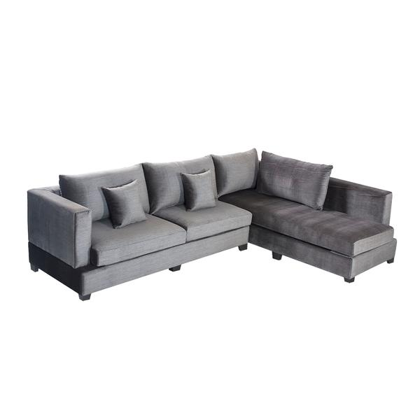 Bharat Lifestyle Allen Fabric 6 Seater (Finish Color - Grey)