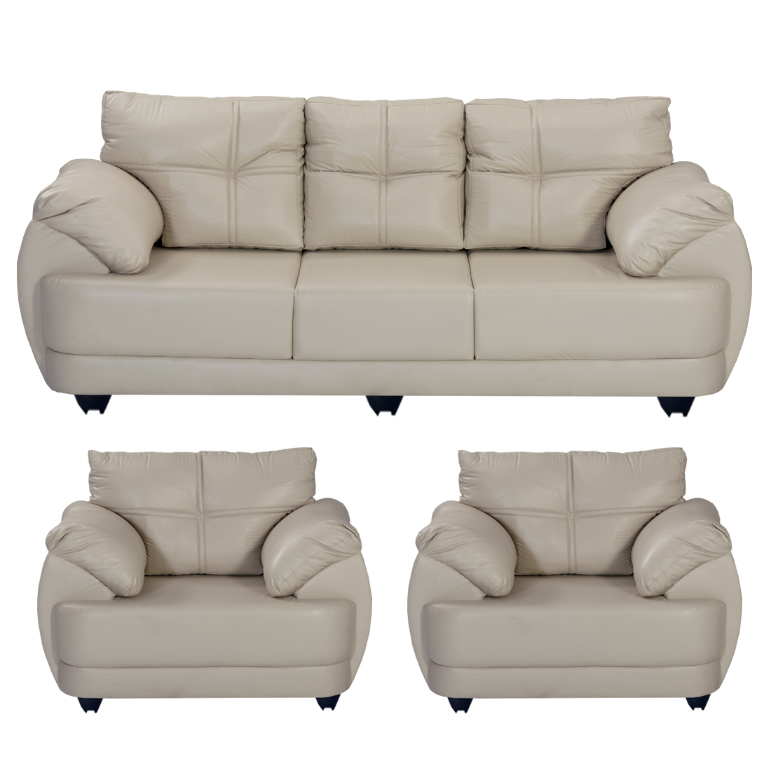 Miraculous Bharat Lifestyle Austin Leatherette 3 1 1 Cream Sofa Set Cjindustries Chair Design For Home Cjindustriesco