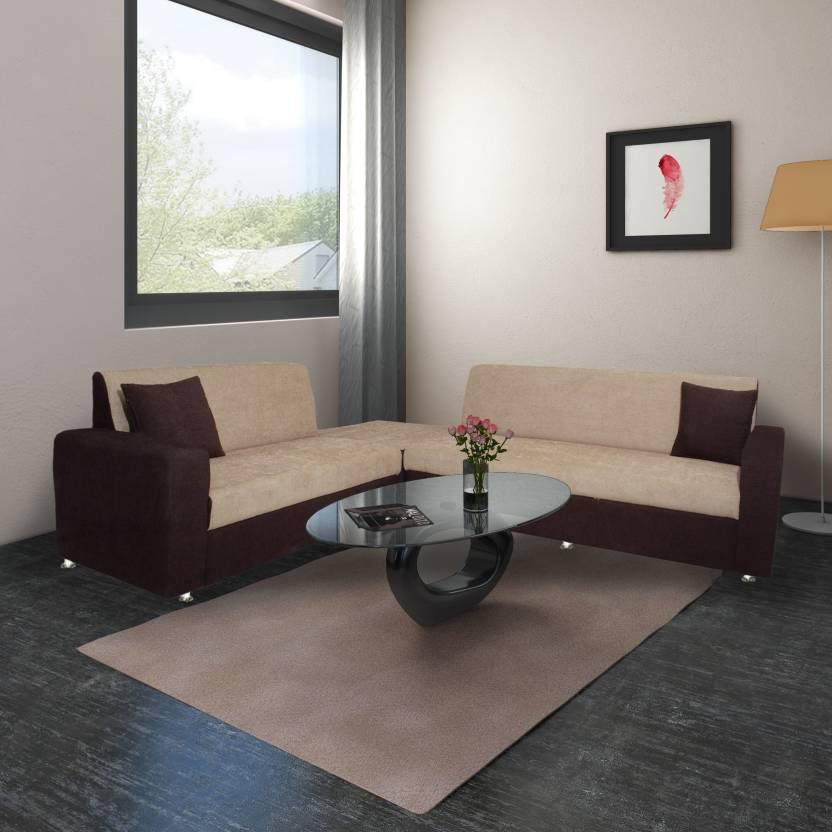L Shape Corner Sofa Bharat Lifestyle Cosmo Fabric Cream Brown 3 2 C