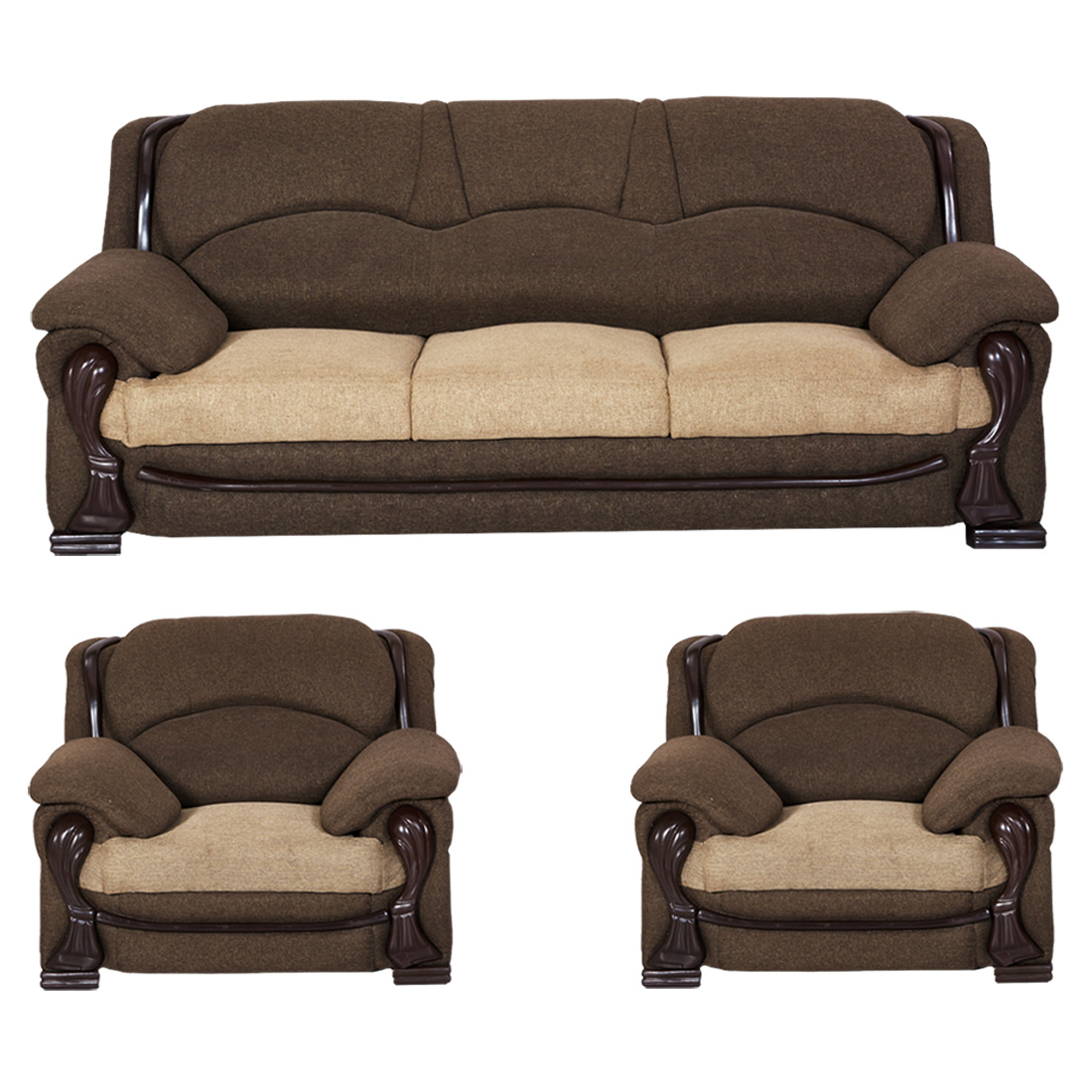 Bharat Lifestyle China Get Fabric 3 + 1 + 1 Golden Brown Sofa Set